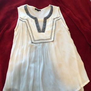 Sleeveless Embroidered White Flowy Top.